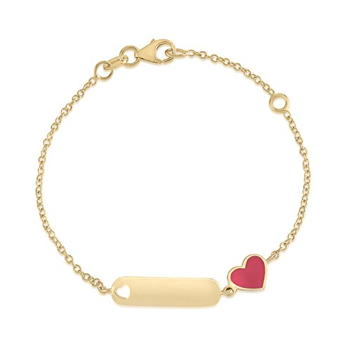 UNICORNJ 14K Yellow Gold Childrens ID Bracelet with Heart Charm Red Enamel 5.5
