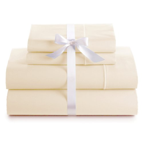 600 Thread Count 100% Cotton Deep Pocket Sheet Set, King Size, Ivory