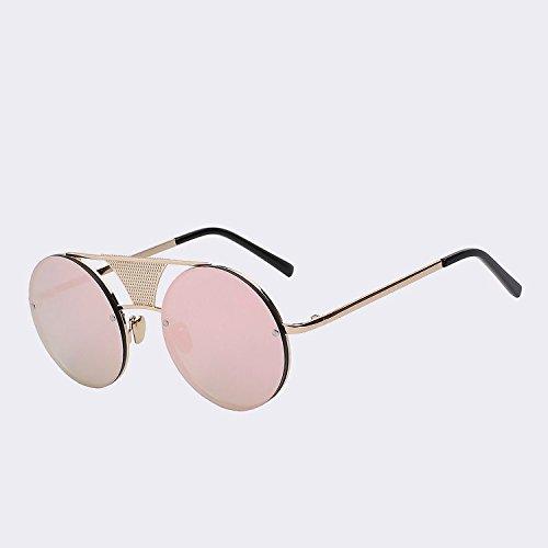 gafas negro de Punk Gafas de de espejo Mens oro metal sin calidad hombres a sol sol reborde W revestimiento gafas TIANLIANG04 lente de de nuevamente alta de el mirror pink w de UV400 redondas Gold 5AX0qwx