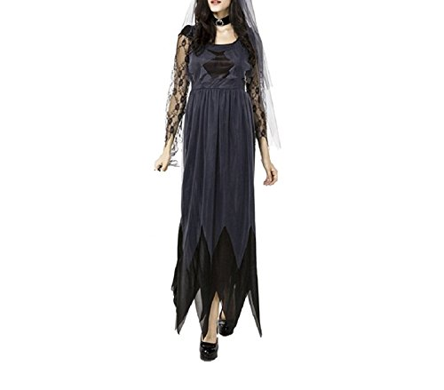 Hihihappy Fashion Women Ladies Halloween Cosplay Costume Sexy Lace Chiffon Ghost Wedding Gown Make Up Party Long Dress as pictureLarge -