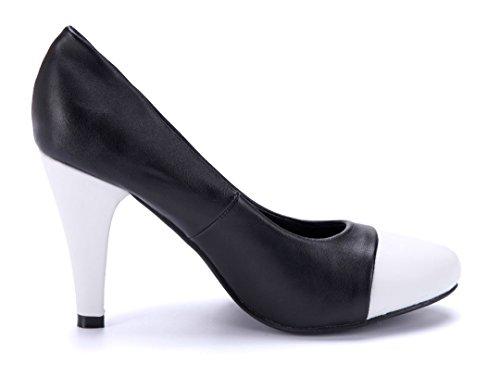Schuhtempel24 Damen Schuhe Klassische Pumps Trichterabsatz 9 cm Schwarz