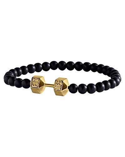 FitLife Fashion Original Dumbbell Bracelet Stainless Steel Glass Beads (Black and Gold Large)