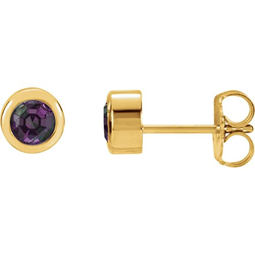 Roy Rose Jewelry 14K Yellow Gold Chatham Created Alexandrite Earrings (Gold Chatham Alexandrite Ring)