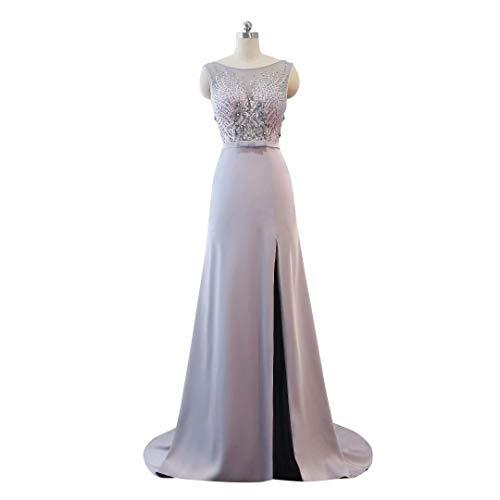 Frauen Ausschnitt Abendkleid Spitze V Hohe Formale Silber Perlen Ballkleider der Lange Split S61qn