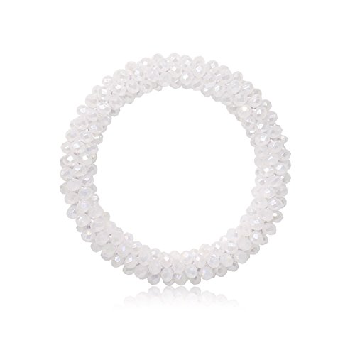 T-Doreen Stretch Bracelets AB color Beaded Bracelets for Women (7 colors) (Opal withe AB)