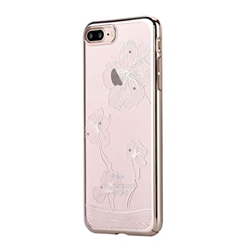 Comma Crystal Flora 360 Case for Apple iPhone 8 Plus & iPhone 7 Plus, Premium Quality & Shock Resistance PC Transparent with Original Swarovski Crystals, 5.5 inch (Champagne Gold)
