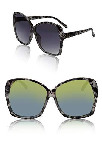 Women's Sunglasses for Woman Smoke Lens Mirrored Mirror Lens Marble Frame 2 Pack ()