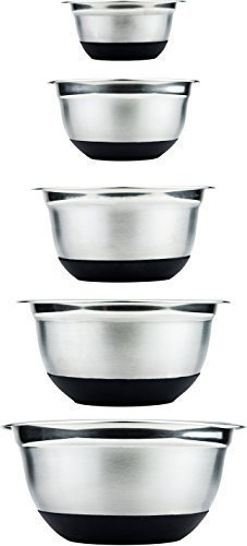 Exquisite Stainless Steel Mixing Bowls with Lids by cheri d'amour - Non Slip Nesting Bowl Set for Cooking Baking Mixing Whisking and Serving Pasta Salad Soup Cereal & More, 5 Chef Inspired Metal Bowls ()