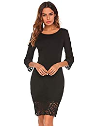 Meaneor Women's Lace Floral Patchwork 3/4 Sleeve Bodycon Party Sexy Dress