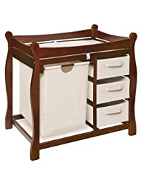 Sleigh Style Changing Table With Storage - Color: Cherry BOBEBE Online Baby Store From New York to Miami and Los Angeles