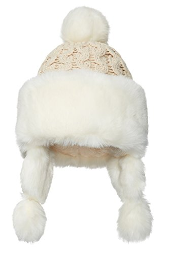 Nothing But Love Women Earflap Winter Hat with Faux Fur Trim Pom Pom Cable Knit Trapper Ushanka Cap (Beige/White) (Trapper Pom)