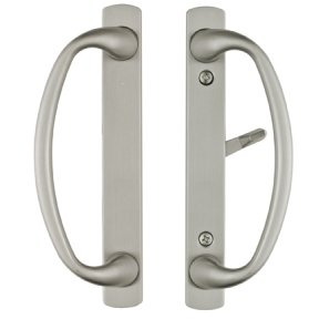 Rockwell Charlotte Sliding Door Handle Set in a Brushed Chrome Finish fits 1.5 inch to 1-3/4 inch Doors with 3-15/16