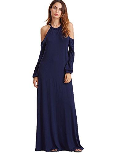 Milumia Women's Cold Shoulder Lantern Long Sleeve Formal Maxi Dress Medium (Formal Cruise Dress)