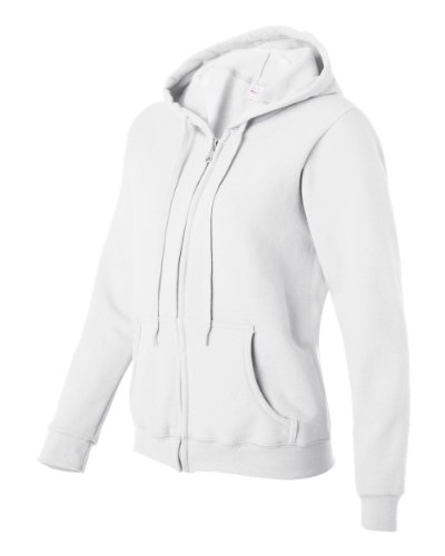 Gildan Women's Blend Full Zip Hooded Pouch Pocket Sweatshirt, White, Large (Plain White Sweatshirt)