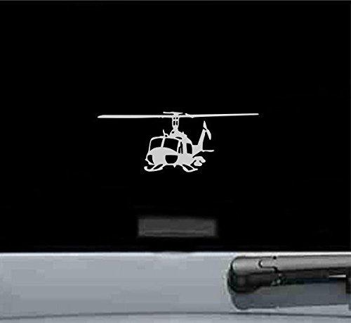 JS Artworks Uh1 Iroquois Huey Left Helicopter Gunship Vinyl Decal Sticker (Silver)
