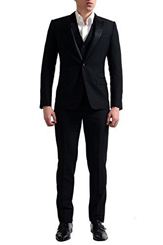 Dolce & Gabbana Men's Black Wool Silk Three Pieces Tuxedo Suit US 36 IT 46 (& Tuxedo Dolce Gabbana)
