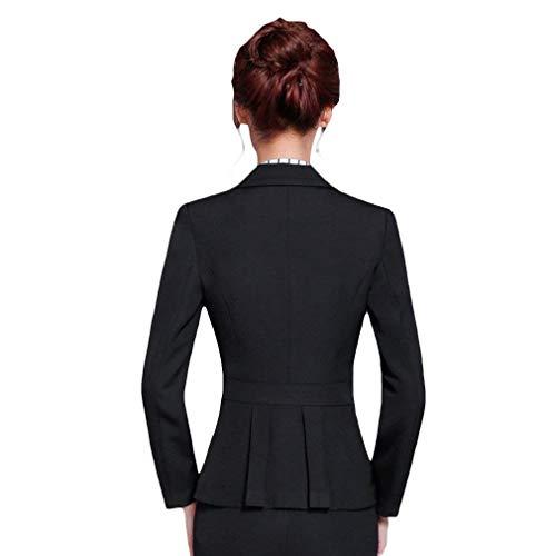 Donna Bavero Giaccone Lunga Giacca Manica Skinny Tailleur Ovest Qualità Business Schwarz Slim Button Alta Di Da Autunno Coat Fit Casual 1dwfq