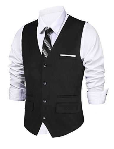 Daupanzees Mens Slim Fit Cotton Office Business Casual Premium Vest Bottoned Dressy Suit Vest Waistcoat (Black L)
