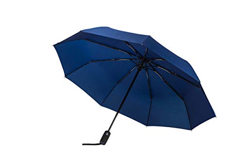 Rain Guard Blue Umbrella - Windproof Travel Umbrella with Teflon Coating, Collapsible and Compact Umbrella Perfect for Any Purse or Backpack