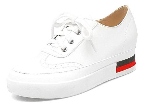 Showhow Damesmode Ronde Neus Lage Top Middelste Sleehak Binnen Plateau Wandelschoenen Sneakers Wit