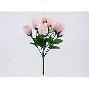 "3 Bushes Blush Pink Rose Buds Artificial Silk Flowers 12"" Bouquet 7-898 BPK 25"