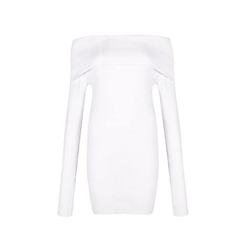 f314aed4c46 Womens Sexy Off Shoulder Long Sleeve Mini Pencil Bodycon Knitted Sweater  Dress well-wreapped