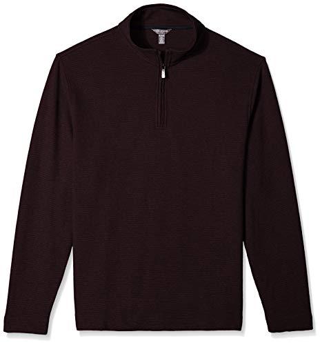 Van Heusen Men's Flex Long Sleeve 1/4 Zip Ottoman Solid Shirt, Red Oxblood, XX-Large