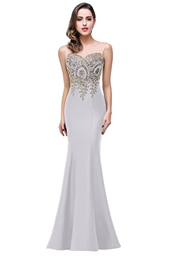 Babyonline Womens Lace Long Gowns and Evening Dresses,Silver,Size 10 (Gown Dress Long)