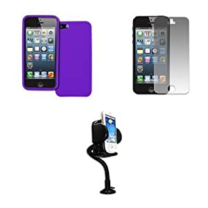 Bloutina Empire Apple iPhone 5 Purple Case Textured Poly Skin + Adjustable Car Dashboard Mount + Matte Screen Protector...