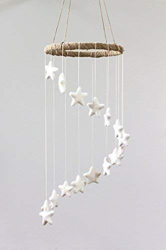 (Spiral Felt Star Mobile- White- Nursery Mobile Decor)