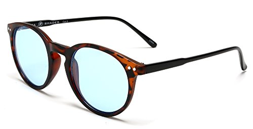 Samba Shades Liz and Rick Classic Round Vintage Wayfarer Sunglasses with Brown Tortoise Frame, Sky Blue - Sunglasses Blue Tortoise