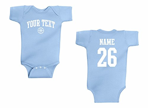 Infant Onesie Custom Personalized, Basketball Arched Text, Back Name & ()