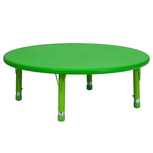 45 Inch Round Adjustable Green - Delacora YU-YCX-005-2-ROUND-TBL-GREEN-GG 45 Inch Round Plastic Framed Adjustable Activity Table