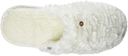 Totes Damen Ladies Textured Fur Mule Slipper Hausschuhe Off White (Cream)