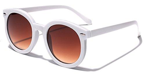 Vintage Retro 80's Round Frame Women's Fashion - Sunglasses White Round Retro