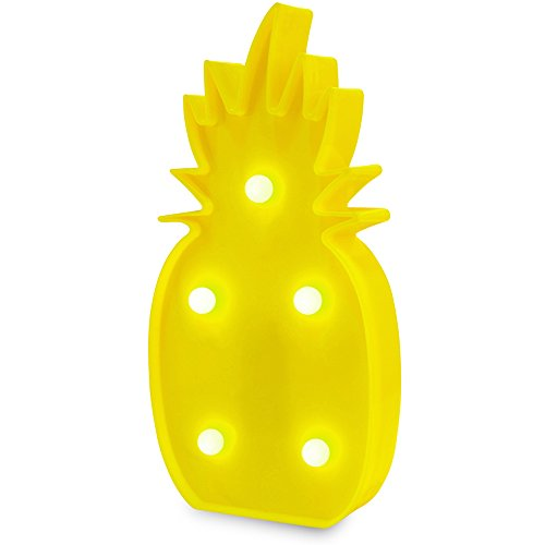 Pineapple Lamp Pineapple Decorations LED Pineapple Night Light Pineapple Party Decorations Battery Operated Yellow Pineapple Lamp Table Lamp Light for Party Supplies-Wall Decoration (Yellow Pineapple)