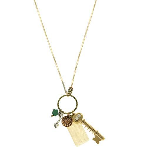 - Mi Amore Key Clock Pendant-Necklace Gold-Tone & Copper-Tone