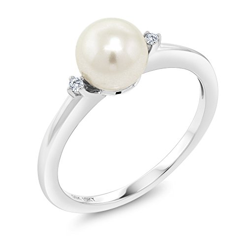 (Gem Stone King 10K White Gold 7mm Cultured Freshwater Pearl Engagement Ring With Diamond Accent (Size 6) )