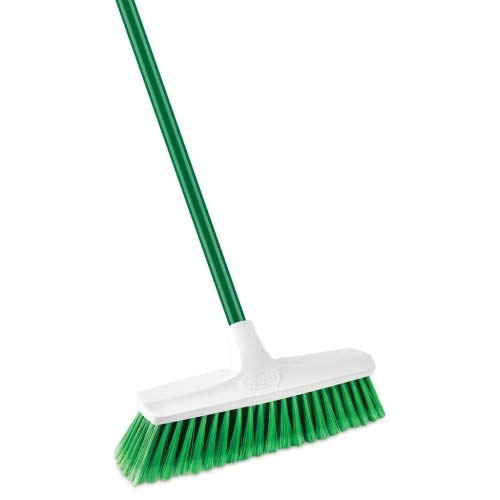 Libman Commercial 1140 Housekeeper Smooth Sweep Push Broom, Steel Handle, 13'' Wide, Green and White (Pack of 4)