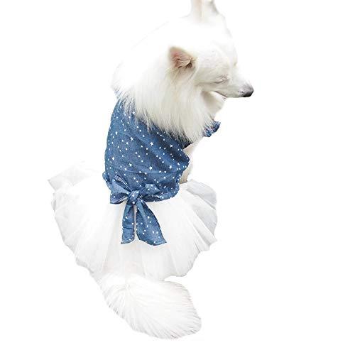 Picture of FLAdorepet Polka Dot Big Large Dog Princess Dress Tutu Skirt Golden Retriever Pitbull Summer Dog Clothes Hoodie Costume (XXL, Blue)