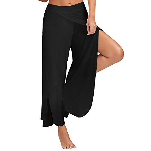 POQOQ Pants Trousers Sexy Waist Wide Leg Flowy Women Casual Loose Yoga Comfort S Black ()