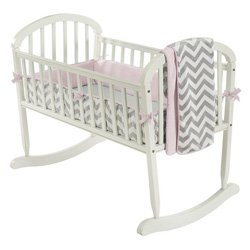 Baby Doll Minky Chevron Cradle Bedding Set - Color: Pink (Includes: Bumper, Comforter, Fitted Sheet) (Minky Cradle Bumper)