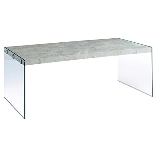 Monarch specialties  I 3230, Coffee Table, Tempered Glass, Grey Cement, 44