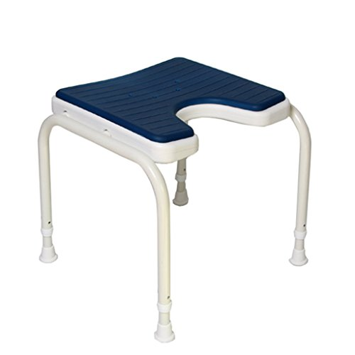 Shower Steel Stainless Seats (NYDZDM Shower Bench Bath Stool 304 Stainless Steel Stent Shower Seat Stool for Elderly Disabled-Anti-Slip Mats Shower Chair Adjustable in 6 Height Heavy Duty,Blue)