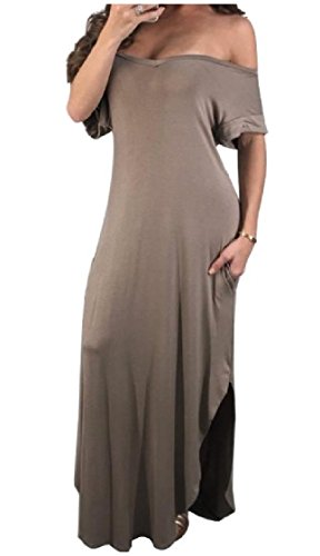 Elegant Women Solid Coolred Dresses Split Coffee Irregular Colored Loose Neck V 8qqHd4rwT