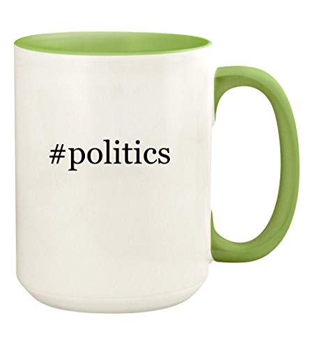 #politics - 15oz Hashtag Ceramic Colored Handle and Inside Coffee Mug Cup, Light Green
