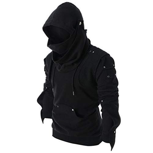 Fr Elbow - Mens Tops Retro Mask Elbow Button Pullover Long Sleeve Hooded Sweatshirt Blouse Black