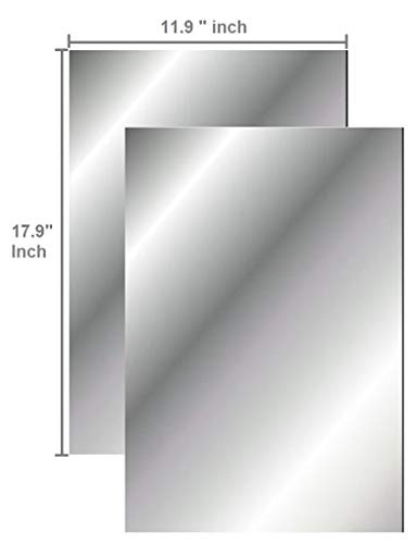 Q-Bics Flexible Mirror Sheets | Mirror Stickers 11.9 X 17.9 Inch Soft Non Glass Cut to Size | Craft Plastic 2 SheetsPeel Off Protective Cover Sheet | Peel Back Sticker and Stick No Glue