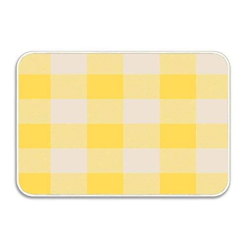 NEWPAI Indoor/Outdoor Floor Mat Non-Slip Doormat 16X24 Buffalo Check Mustard Yellow and Vintage White Plaid Wide Stripes