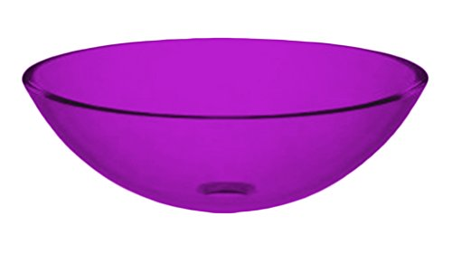 - Pink Color Sphere Glass Vessel Clear Smooth Glass Sink, 12-Inch Diameter x 4 3/4-Inch Deep Table Top King.